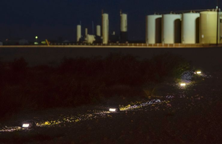 Lighted Path to Oil Field